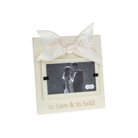 Mud Pie Luxury Cream Wooden Photo Picture Frame Wedding- to Have and to Hold