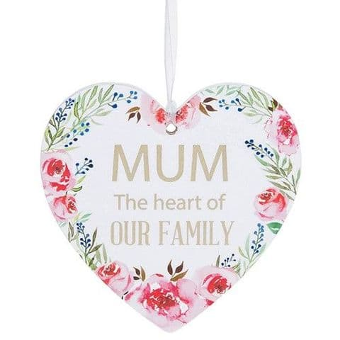 Mum White Hanging Heart Sentiment Floral Plaque - Messages