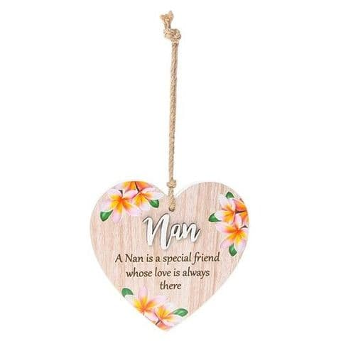 Nan Floral Wood Hanging Heart Sentiments Plaques with 3D Lettering