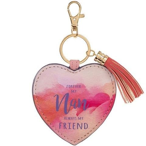 Nan My Friend Pink Heart Leatherette Keyring Bag Charm with Tassels