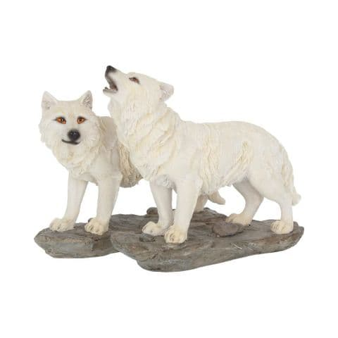 Nemesis Now Pair of White Wolves Figure The Watchers