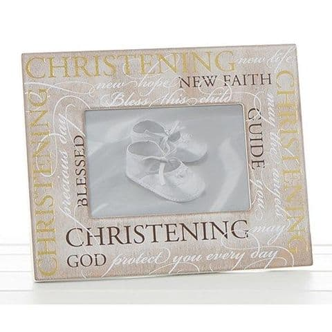 NEW Wood Photo Frame With Sentiment Script for Christening 4x6