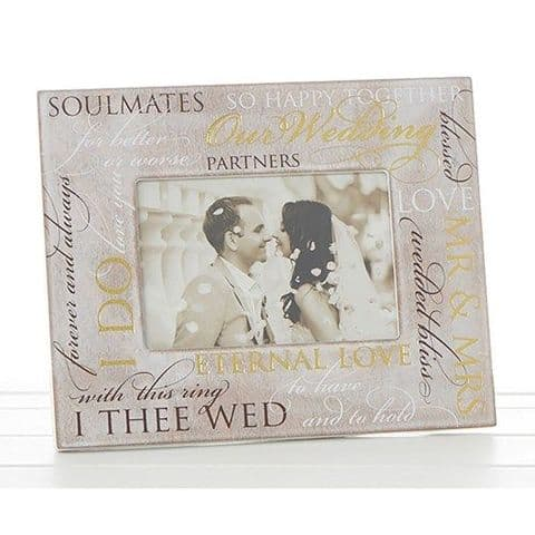 NEW Wood Photo Frame With Sentiment Script for Wedding 4 x 6