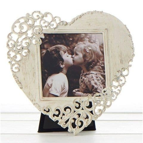 Old Cream Vintage Lace Ornate Rustic Metal Heart Shaped Photo Frames