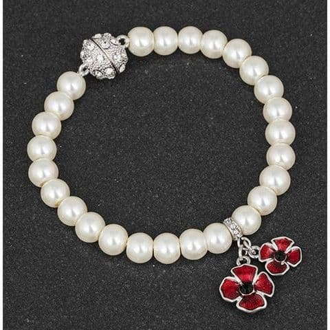 Pearl and Poppy Charm Bracelet  20cm