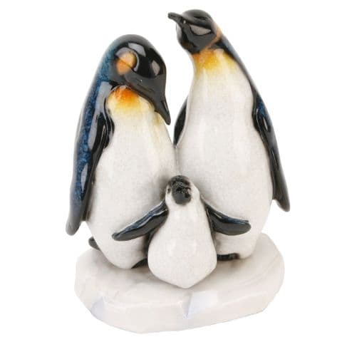 Penguin Family Figurine Polished Stone Gloss Effect Statue Boxed