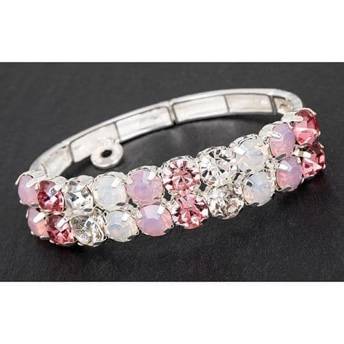 Pink and Clear Crystal Silver Plated Half Bracelet - Glamour & Glitz