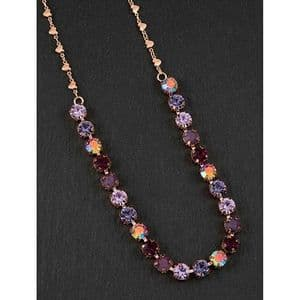 Pink and Lilac Crystal Glamour Necklace Dark - Glamorous & Glitzy