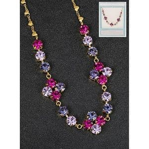 Pink and  Purple Crystal Cluster Glamour Necklace
