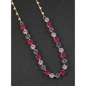 Pink and  Purple Crystal Glamour Necklace - Glamorous & Glitzy