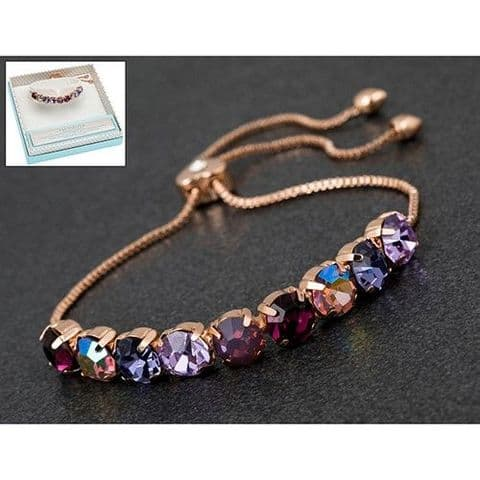 Pink and Purple Crystal Silver Plated Friendship Bracelet - Glamour & Glitz