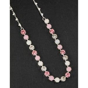 Pink and White Crystal Glamour Necklace - Glamorous & Glitzy
