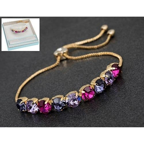 Pink, Purple and Lilac Silver Plated Friendship Bracelet - Glamour & Glitz