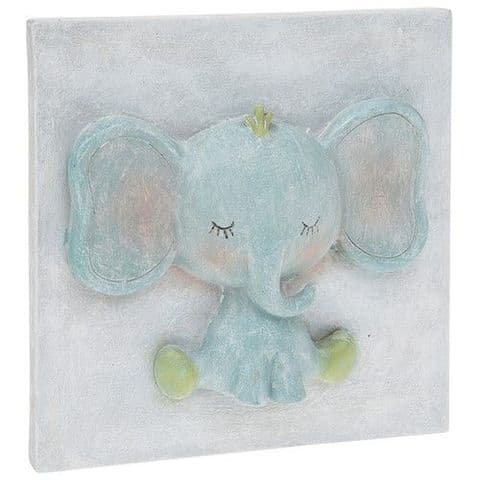 Pretty Pastel Cute Baby Elephant 3D Plaque