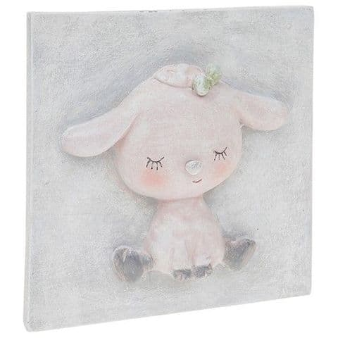 Pretty Pastel Cute Baby Lamb 3D Plaque