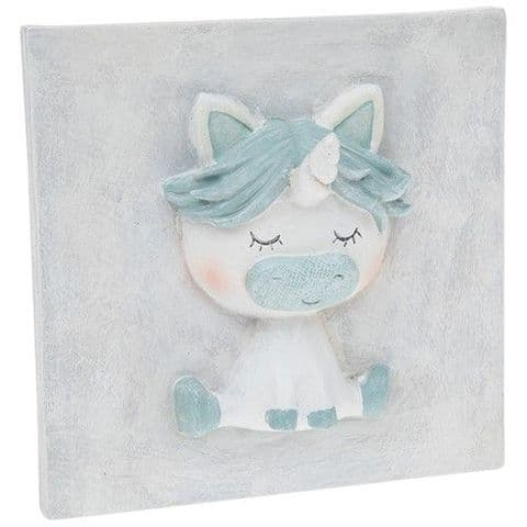 Pretty Pastel Cute Baby Unicorn 3D Plaque