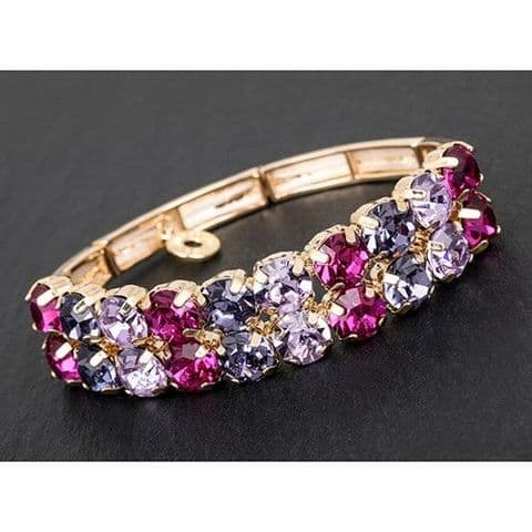 Purple and Pink Crystal Gold Finish Half Bracelet - Glamour & Glitz