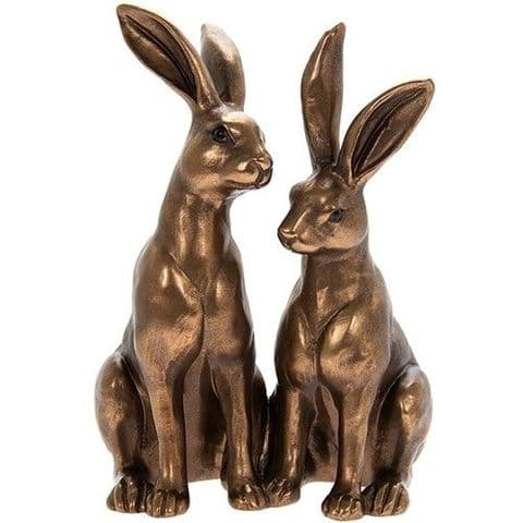 Reflections Bronze Sitting Pair of Hare Statue Ornament