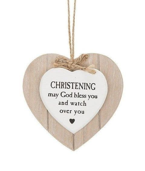 Shabby Chic Provence Style  Hanging Heart Plaque with Sentiment Christening Gift