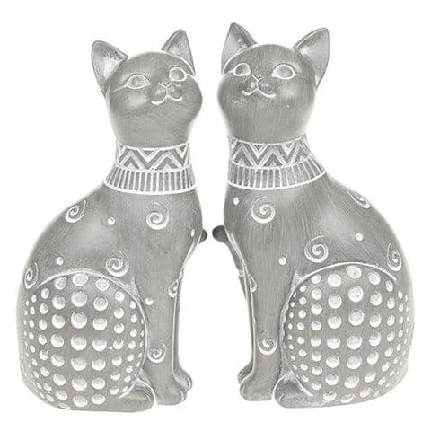 Shudehill Country Grey Daisy Cat Pair Sitting Figure Ornament