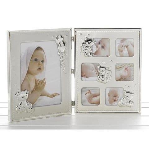 Shudehill Giftware Double Trouble Satin and Gloss Baby Large Folding Open Photo Frame for Wall or St