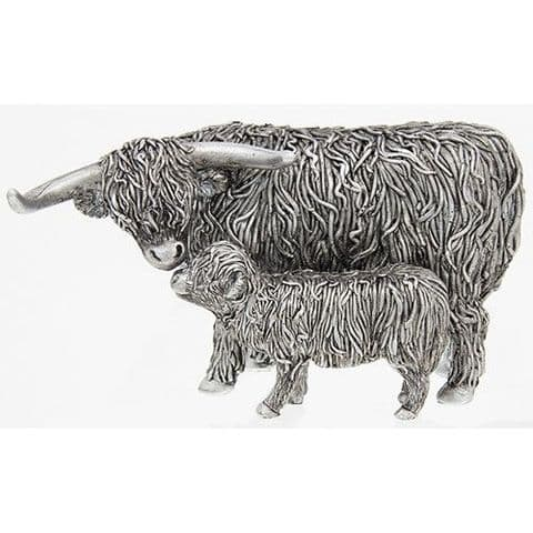 Shudehill Silver Finish Highland Cow and Calf Figure Ornament Gift New Design (200764)