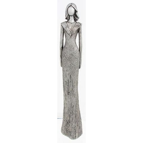 Shudehill Tall Elegant Silver Finish Lady Standing with Hands by Her Sides Figure