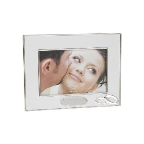 Silver and White Engravable Wedding Photograph Frame for 6 x 4 Photo
