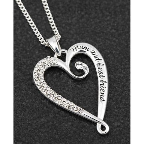 Silver Plated Coiled Open Heart Pendant Necklace Mum Message