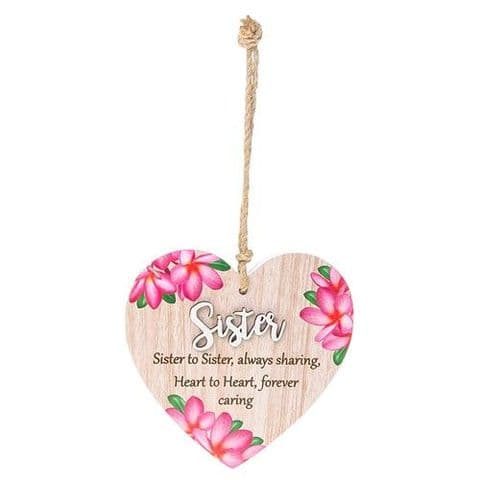 Sister Floral Wood Hanging Heart Sentiments Plaques with 3D Lettering