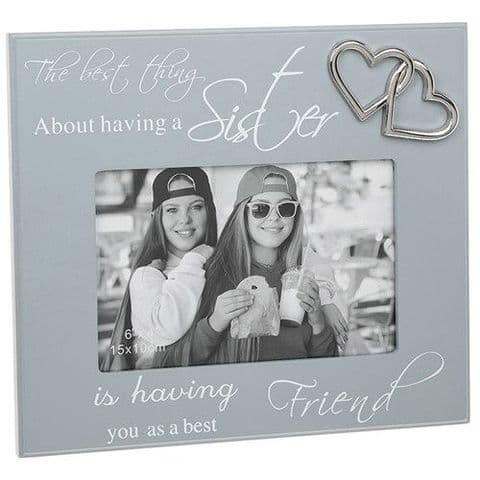 Sister Sentiment Grey Script Photo Frame with Silver Hearts Motif for 6x4 photo
