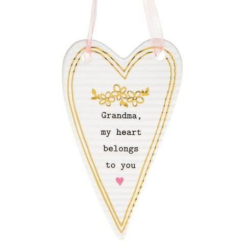 Thoughtful Words Ceramic Hanging Heart Sign - Grandma