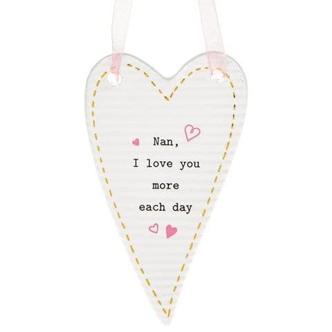 Thoughtful Words Ceramic Hanging Heart Sign - Nan, I love...