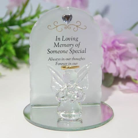 Thoughts Of You Memorial Glass Plaques with Angel - Someone Special