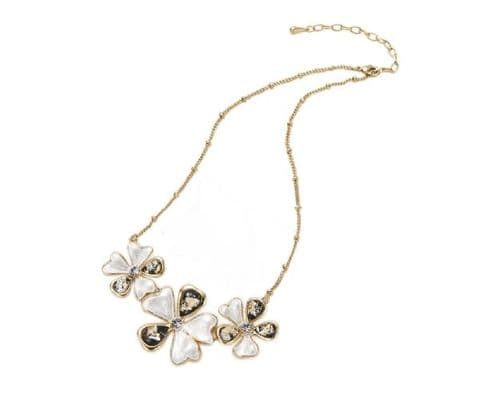 Triple Flower Crystal Stone Necklace Gold