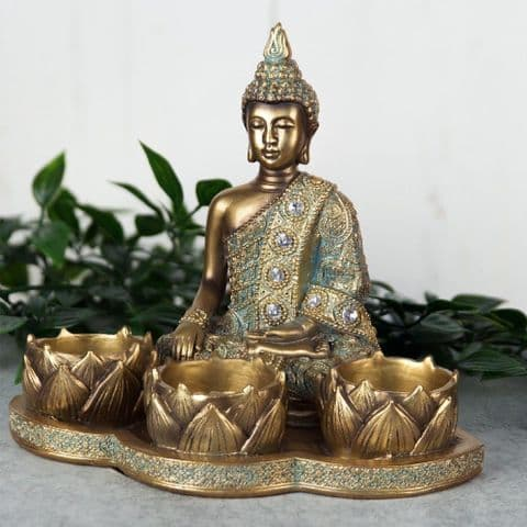 Verdigris Bronze Finish Buddha Tealight Holder