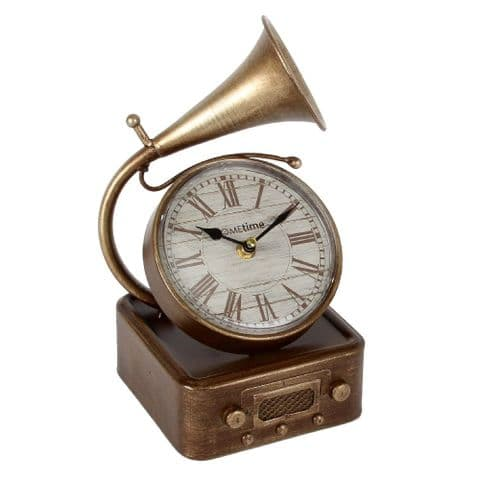 Vintage Style Metal Mantel Clock Gramophone with Roman Numerals