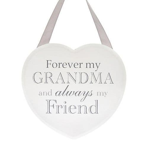 White Hanging Heart Sentiment Shabby Chic Plaque - Grandma