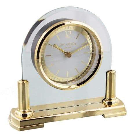 William Widdop®  Glass Arched Mantel Clock - Gold