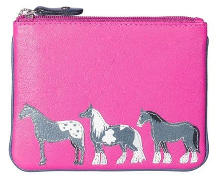 Best Friends Horses Leather Pink Coin Purse