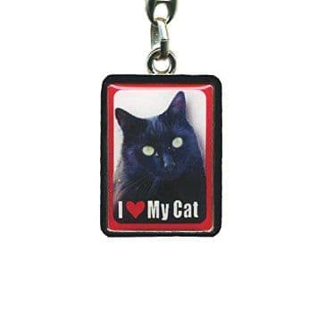 Black Cat Metal Keyring