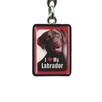 Brown Labrador Metal Keyring