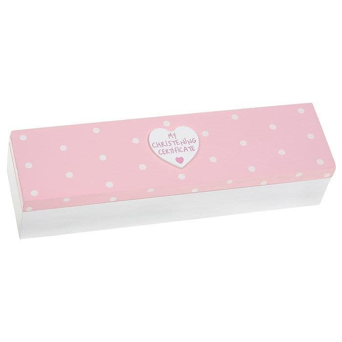 Christening Certificate Box in Pink
