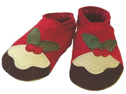 Christmas Pudding Shoes, 6 to 12 Months
