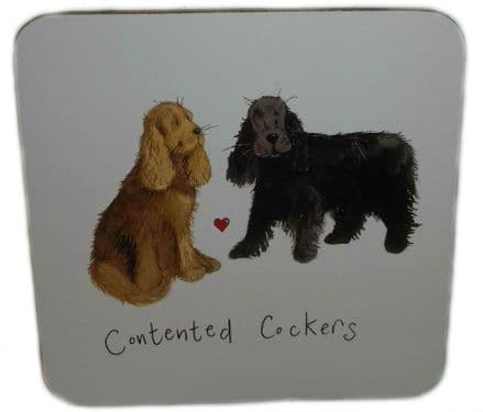 Contented Cockers Corked Backed Coaster