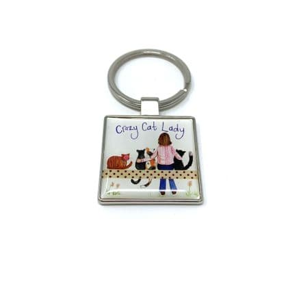 Crazy Cat Lady Keyring by Alex Clark