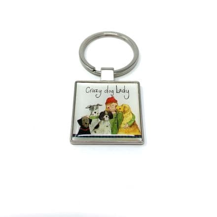 Crazy Dog Lady Keyring by Alex Clark