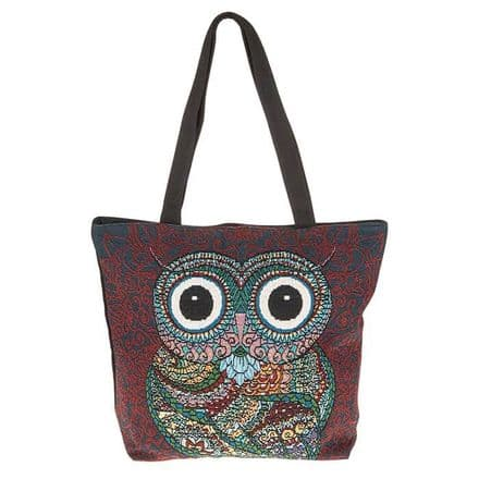 Decorative Owl Tote Bag in Red and Blue