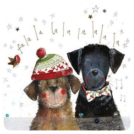 Dogs Christmas Singers Corked Backed Coaster by Alex Clark