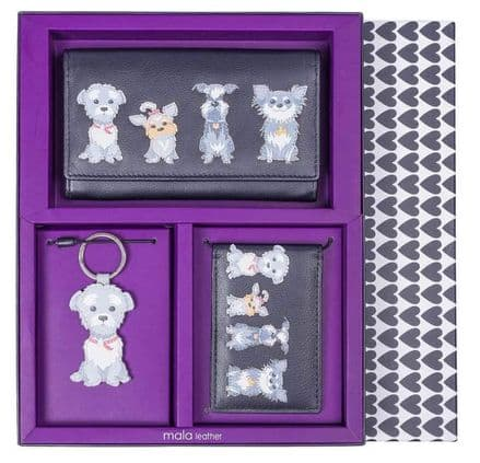 Flap Over Purse, Dog Keyring & ID Holder, Grey Dogs Gift Set
